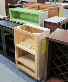 Decisions, decisions! Do you want your cabinet with or without doors, wine racks, beaded interior backs, and bright green paint?!