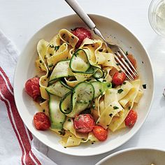 Silky Pappardelle with Zucchini Ribbons   CookingLight.com