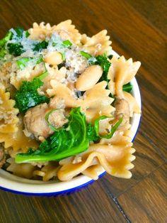 Bowtie Pasta with Sausage, White Beans & Kale - The Lemon Bowl