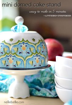 Oh my goodness! What a lovely gift to give! This handmade domed cake stand is so easy to make...anyone can do it! craft, dome cake, cake dome, mini dome, gift ideas, cake stands diy, mini cakes, easy handmade gifts, cake plates
