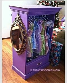 Remove drawers from.                 dresser, add crown moulding, paint. Dress up closet