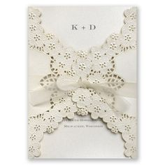 Floral Embossed Lace Wedding Invitation by David's Bridal #davidsbridal #weddinginvites