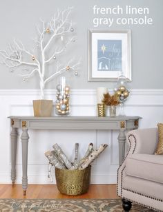 french linen gray console holiday, linen gray, christmas pictures, silver christmas, chalk paint, french linens, color, gray consol, christmas mantels
