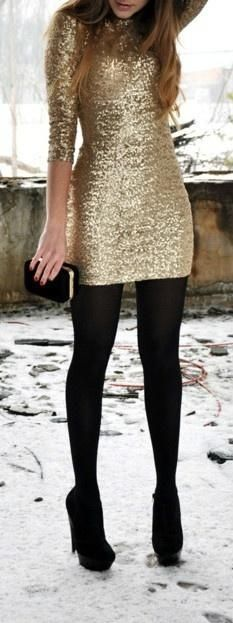 Gold glitter long-sleeved dress. looks like this but with a backless cowl drape. GORGEOUS