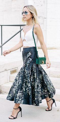Black And White Embellished Leather Maxi Skirt