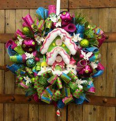 Candy land Christmas wreath (last one available). $115.00, via Etsy.