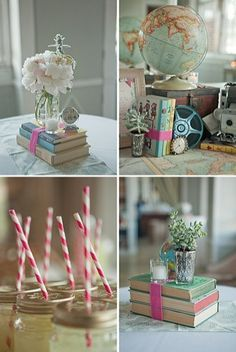 book centerpiece ideas - great idea to go along with Alice in Wonderland!