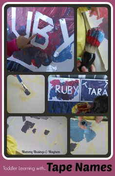 Toddler Name Recognition & Tracing Fun with 'Magic Tape Names' - An easy activity to encourage interest in names and pre-writing skills! Mummy Musings & Mayhem