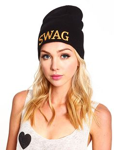 """Swag"" Beanie I http://www.loveculture.com/Item/ItemDetailView.aspx?StyleId=1000010792#"