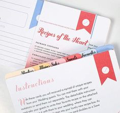 Recipes of the Heart | Recipe Cards and Divider Set {an alternative to the usual thank-yous and well wishes, guests can give you their favorite recipes instead}