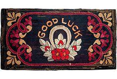 """Antique Good Luck Rug, 5.5' x 2'7"""""""