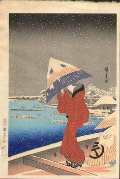 Hiroshige Japanese Woodblock Print - Umbrella / Snow