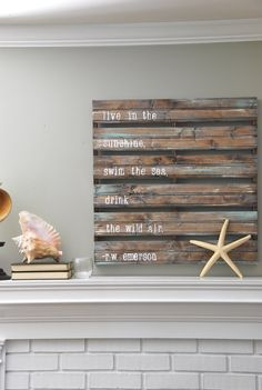 wall art, beach homes, emerson, quotes, beach houses, sea, pallet signs, pallet art, wood pallets