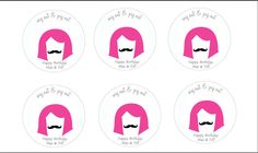 Cupcake toppers for wig and stache bash
