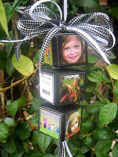 I adore these! Not only can they be made into Christmas ornaments but you use blocks of varying sizes, glue them together and have a stack of photo blocks to sit on your mantle, bookcase or anywhere else you might like a little display