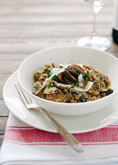 food, mushroom quinoa risotto, mushrooms