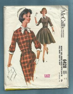 1962 McCalls 6428 Front Button Fitted Bodice Ladies by MrsWooster, $9.50