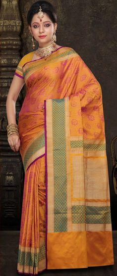 Mustard Pure Satin #Silk #Banarasi Tanchhoi #Saree With Blouse @ $308.70 | Shop @ http://www.utsavfashion.com/store/sarees-large.aspx?icode=shr9