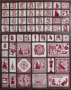 casier d'imprimeur, borduren, letter boxes, casier dimprimeur, broderi, tray, cross diversen, cross stitches, letterbak