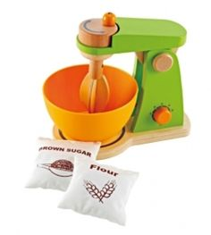 Kids have hours of fun pretending with this adorable maple wood mixer.  It comes with everything shown and actually mixes when the handle is cranked and tilts up & down.  The durable mixer & bowl are made with non-toxic paints & glues.  Goes well with our kitchen set!  Ages 3.