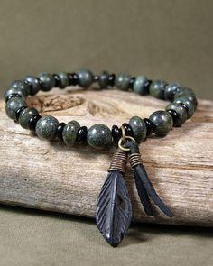 bracelet man, stretch bracelets, mens bracelet, man jewelri, men bracelet, fashion styles, men fashion, beaded bracelets, feather bracelet