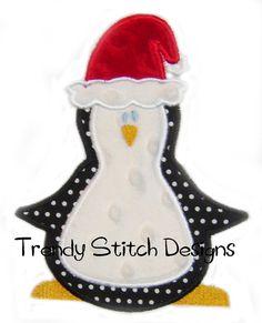 christmas applique design | Christmas Penguin Applique design Machine Embroidery Design INSTANT ...