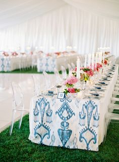 Long Tables ~ love the long fat runners that add color to the table