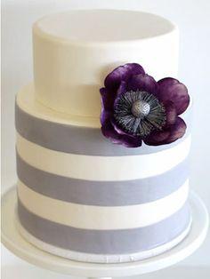 tiered cakes, modern wedding cakes, purple flowers, white cakes, purple cakes, modern cakes, stripe, cake with ribbon, purple wedding cakes