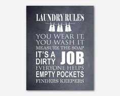 Laundry Room Wall Art Laundry Rules by SusanNewberryDesigns, $15.00