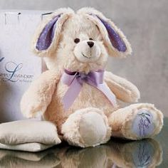 GREAT BABY SHOWER GIFT! Cuddly plush bunny hides a removable pouch of flaxseed and lavender buds to use warm or chilled.
