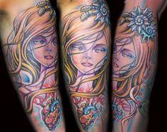 girl tattoos, beauti tattoo, portrait tattoos, kawasaki tattoo, color tattoo
