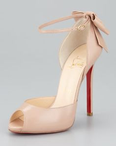 Christian Louboutin Dos Noeud Peep-Toe Ankle Wrap Red Sole Pump, Nude - Be still my heart.