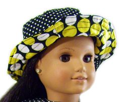 INSTANT Download - Reversible Doll Sun Hat Sewing Tutorial for Small & Large Dolls. Fits American Girl and Bitty Baby