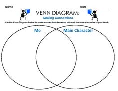 FREE: Venn Diagram - Text to Self Connections (Main Character), 1 sheet    Directions: Use the Venn Diagram below to make connections between you and the main character of your book.     Worksheet was used for homework assignments and independent reading lessons. * Free Printable Worksheet * http://www.teacherspayteachers.com/Product/Venn-Diagram-Text-to-Self-Connections-Main-Character