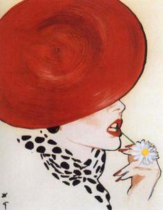 René Gruau antigua, rene gruau, red hats, art, gruau illustr, fashion model, fashion illustrations, rené gruau, fashionillustr