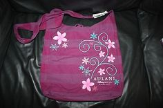 NWT Disney Aulani Canvas Purple Striped Floral Embroidered Tote Bag Hawaii
