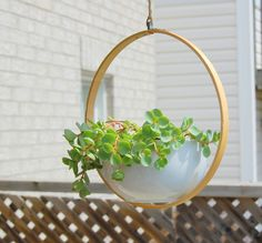 Craft this DIY Hanging Planter with an embroidery hoop and a bowl. via Northstory