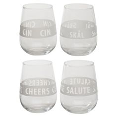 Each tumbler has a different salutation from around the world