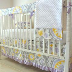 Wisteria Bumperless Crib Bedding set. by babymilanbedding on Etsy, $230.00