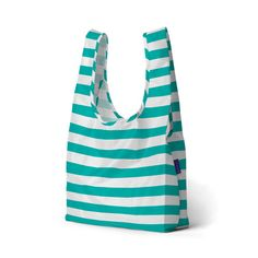 Baggu makes reusable shopping bags that are sturdy, strong and stylish. The standard Baggu is made out of 100% ripstop nylon, washable and can hold up to 25 pounds, making them an ideal, cost-effective and environmentally friendly alternative to plastic bags. Best of all, Baggu bags are designed to be folded into a little, flat pouch so they can easily fit into your purse or pocket.