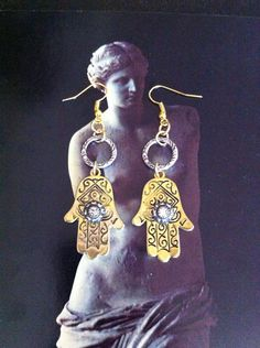Hamsa  Hand Earrings Turkish Crystals Gold by RedGypsyJewelry, $38.00