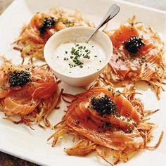 Potato Pancakes with Smoked Salmon, Caviar and Dill Cream