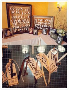 Vintage keys tied to personal tags as escort cards.