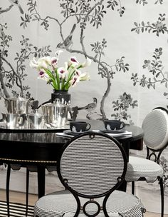 interior design, dining rooms, celeri kembl, black white decor chinoiserie, dine room, decorating blogs, chairs, architecture interiors, modern rooms