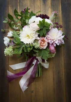dahlia and garden rose bouquet by Denise Fasanello