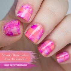 Streaky Watercolour Nail Art Tutorial // The Nailasaurus YouTube nail art tutorials, watercolour nail, watercolor nail, nail arts