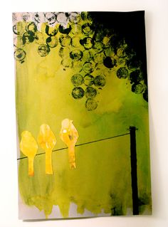 Cool mixed media of birds on a wire
