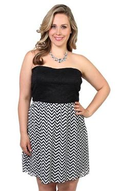 Deb Shops plus size strapless #dress with #chevron chiffon skirt and bow back