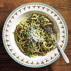 Linguine with Spinach-Herb Pesto   MyRecipes.com