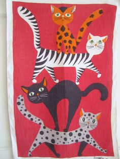 mid-century cat tea towel